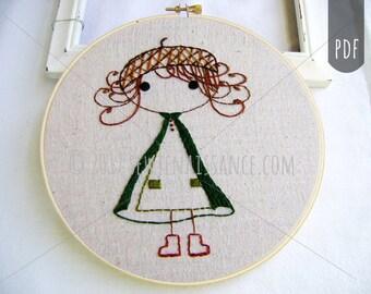 Embroidery Design  PDF Pattern Little Woodland Girl Acorn Hat Cloak