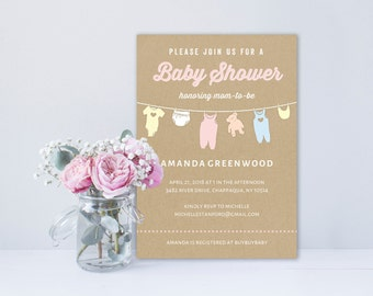 Baby Shower Invitation Template | Editable Invitation Printable | Baby Shower Invite Clothesline | No. PY 2103
