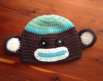 3-6 Months Teal and Grey Baby Boy Crochet Sock Monkey Hat