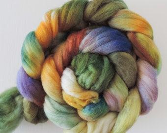 Merino Seide,Feenhügel, handgefärbte Fasern zum Spinnen,120g Kammzug