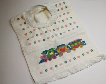 Vintage Terrycloth Towel Bib with Cross-Stitched Train