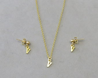 Tiny Initial V Necklace and Earring Set - Gold or Silver Plated