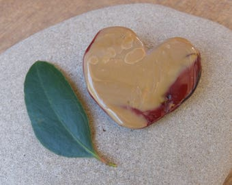 "Large rustic Mookaite heart - handmade gem stone heart from Australia - ooak heart rock - ""cuddle heart"" palm stone, contemplation stone"