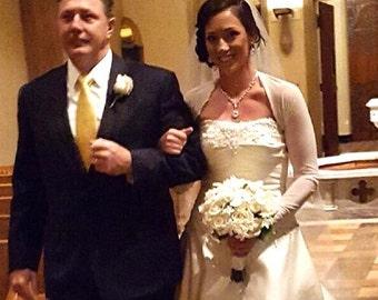 BRIDAL SHRUG Bolero, Wedding Bolero, Cover Up, Long Sleeves in Ivory or White