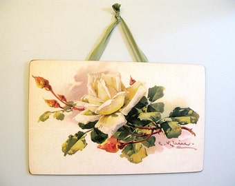 Vintage Yellow Cream Roses Wall Picture Board Catherine Klein Reproduction 16X10 Victorian Romantic Shabby Chic Cottage French Farmhouse