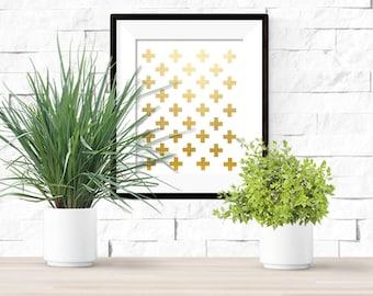 Gold Swiss Crosses Printable  Artwork - 8x10 Digital Download