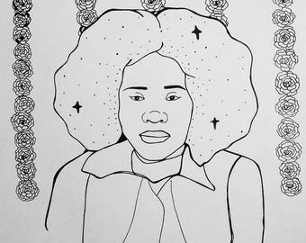 Alice Coltrane original drawing
