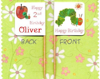 20 PERSONALISED HUNGRY CATERPILLAR Birthday Cup Cake Flag Toppers
