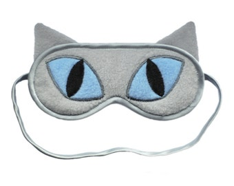 Cat Sleep Mask, Refinery29 Featured, Gray cat blindfold sleeping eye mask, Blue eyes animal sleepmask, Cat ears gift, As seen on Refinery29