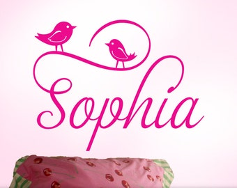Personalized Girls Name Wall Decal with Cute Bird Wall Decals | Girls Name Bedroom Decal in Script Font | Sophia (shown)