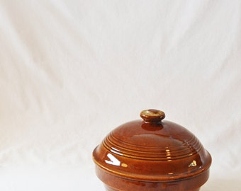Large Vintage Covered Glazed Brown Stoneware Dish