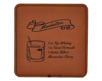 Manhattan  Drink Coasters - Old Fashioned Mixed Drink Recipies - Choice of Coaster Color and Shape - 091