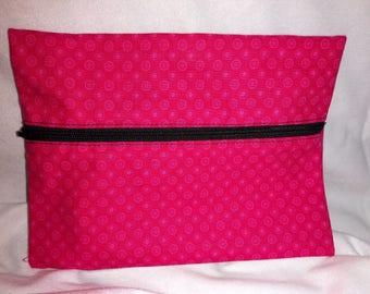 Hot Pink Dot 100% cotton fabric bag pouch zippered reusable