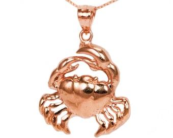 10k Rose Gold Crab Necklace