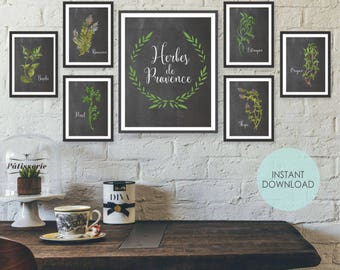 Unframed Watercolor Herb Poster Set French Wall Art Herb