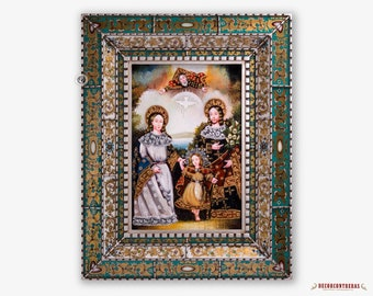 Sacred Family, Replica Painting on wood from Peru, Hand-painted Art Glass Frame, Large wall art, folk art painting, Religious Paintings wall