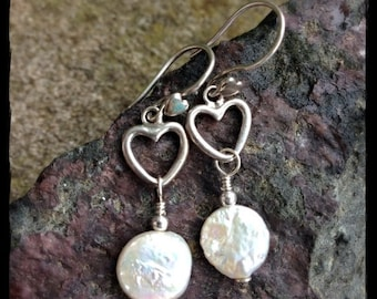 LIMITED TIME SALE Sterling Silver Open Heart and Freshwater Coin Pearl Drops
