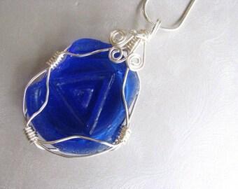 Statement Pendant  - Beach Glass Pendant - Vicks Jar Bottom Sea Glass -  Genuine Cobalt Blue Sea Glass - Wire Wrapped - Beach Glass Jewelry