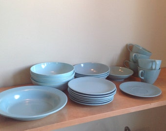 Turquoise Melmac, really blue-green, vintage dishes