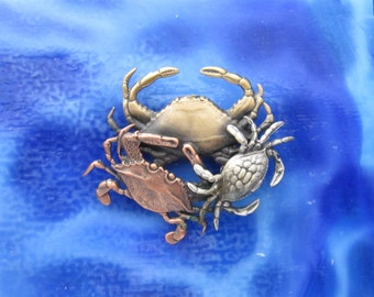 Crabs Brooch- Crab Jewelry- Maryland Crab- Cancer Crab- Hermit Crab- Blue Crab
