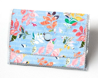 Vinyl Accordion Wallet - Joyful Spring3 /  floral, blue, polka dot, flowers, small wallet, snap, cute, card case, vinyl wallet, women's