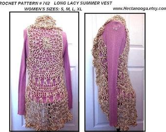 Crochet PATTERN 762 - Long LACY SUMMER Vest,  30-52 inch,  circular vest, women's clothing, under 10 dollar vest,  pdf digital download