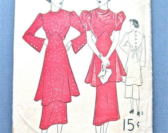 Spring Sale 1930s Vintage Sewing Peplum Dress Pattern by Advance 1604  Bust 36