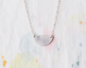 Tiny Sunset Sunrise Necklace in Brass or Sterling Silver Wanderlust Charm Semi Circle