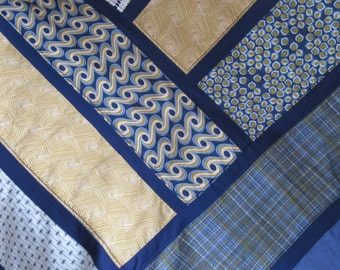 SALE Modern Unbroken Herringbone Throw with Blues and Golds