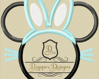 Bunny Mouse Machine Embroidery Applique Design