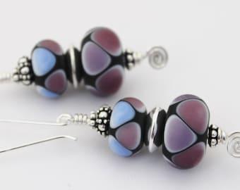 Rainbow Bead Earrings, Lampwork Bead Earrings, Glass Bead Earrings, Green and Teal Earrings, Artisan Glass Jewelry, Murano Glass, Handmade