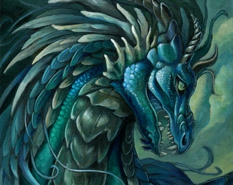 Zephyr - Fantasy Blue Dragon Print