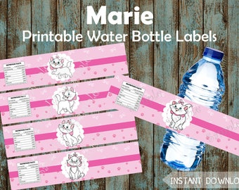 Marie Water Bottle Labels, Aristocats Marie Printable Water Labels, Marie Party Favors, Aristocats Marie Party Supplies, Marie Birthday