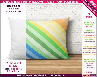 12x18 Decorative Pillow Cotton Fabric | Photoshop Fabric Mockup M1-1218-0 | Room stage | Cushion on wood floor | Smart Object Custom colors