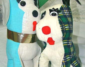 Vintage Carnival Dogs. Kitschy Decor. Stuffed Puppy Dog. Floppy Ears. Throw Accent Pillow.