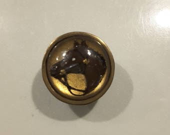 Vintage early 1900's horses head under glass button.