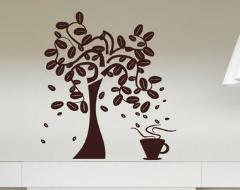 Wall Vinyl Sticker Decals Mural Room Design Pattern bedroom coffee beans tree cup kitchen breakfast cute bo2700