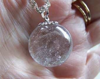 Natural Clear Quartz Crystal Ball Jewelry Pendant