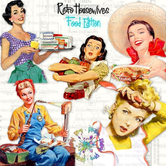 Retro Housewives Food Edition Vintage 50s Women Food