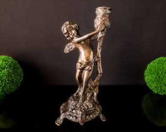 Antique Bronze Cherub Candle Holder Candlestick Putti Victorian