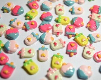 60 pc Tiny Flatback Cabochon Mixed Ice Creams for 3D Nail Art, Cellphones, Embellishment, Crafts