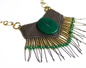 Crochet tribal necklace, Native inspired geometric statement necklace, african inspired fringe fiber neck piece, green agate pendant
