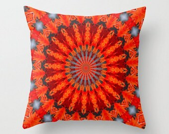 Bright Red Hippie Boho Pattern Throw Pillow Cover, Spring Accent Pillow, Wedding Gift, Cottage Shabby Chic, Loft Cushion Cover, 16x16, 18x18