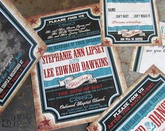 Vintage, Western Wedding Invitation. Western Vaudeville invitations. Texas themed wedding invitations