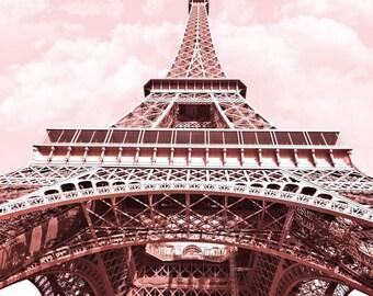 Paris Photography in pink, Eiffel Tower, Paris Photo, France, Instant Download, Digital, Printable Fine Art Photography