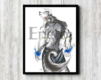 Fantasy Gray Wolfman with Blue Flames Original Copic Marker Pen & Ink Fine Art Print