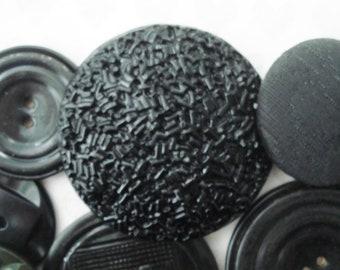 Extra Large Black Plastic Buttons - Vintage Black Buttons - 22 Fancy Black Plastic Buttons - Shabby Black Buttons - Jumbo Black Buttons