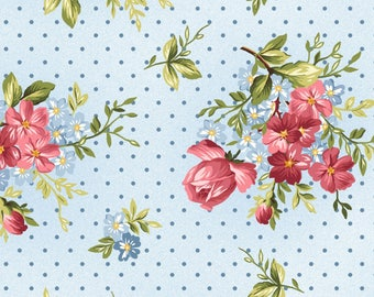 14.5 Yards in Stock - Maywood Studio - Roses on the Vine - Roses with Dot On Soft Blue by Marti Michell - 100% Cotton