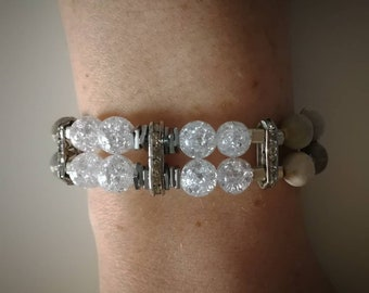 Job's Tears, Sparkling Quartz Adjustable Bracelet.