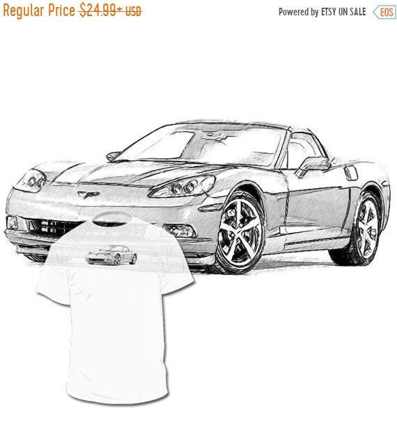 40% OFF SALE C6 Chevrolet Corvette Drawing Tshirt Your Car C1